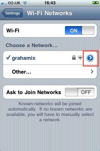 iPhone wifi network settings