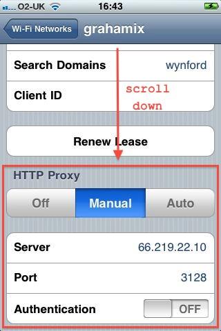 enter HTTP proxy information
