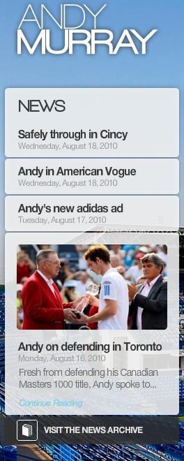 screenshot of the News widget on AndyMurray.com