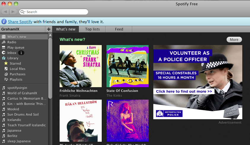 Met Police ad shown in the Spotify software