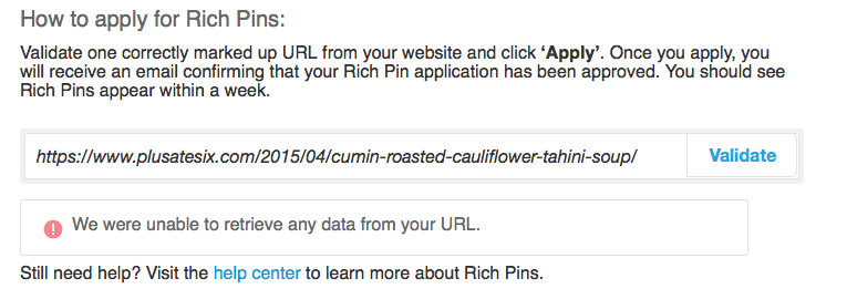 Pinterest Validator tool failure