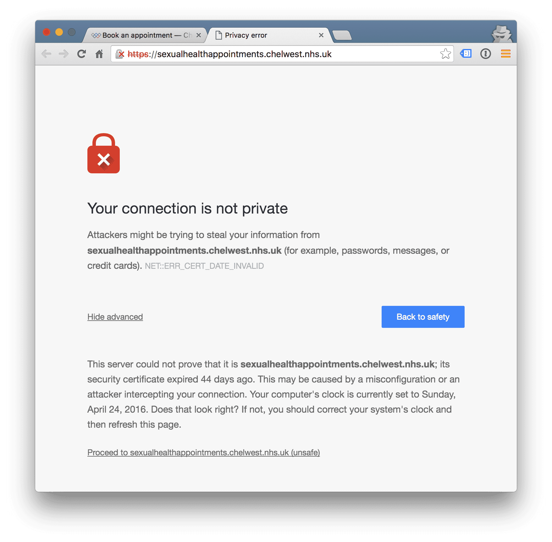expired SSL certificate for online booking at 56 Dean Street